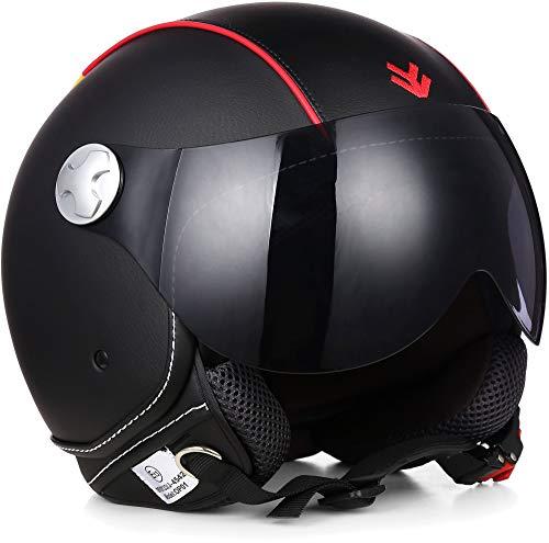 ARMOR Helmets AV-84 Motorrad-Helm, ECE Visier Leather-Design Schnellverschluss Tasche, XS (53-54cm), Mehrfarbig/Germany