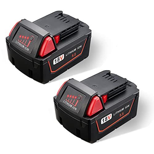 JYJZPB 2 Piezas 5.5Ah 18V Batería de Repuesto para Milwaukee M18 48-11-1850 48-11-1880 48-11-1852 48-11-1812 48-11-1828 48-11-1820 48-11-1822 48-11 - 1860 48-11-1840 48-11-1815, con Indicador LED