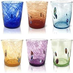 """MAZZEGA ART & DESIGN Juego de 6 vasos de agua """"Tumbler"""" de cristal colorido estilo murano modelo """"Liberty""""."""