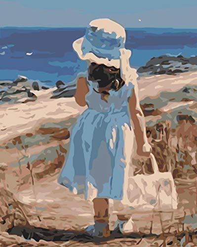 Pintar por Numeros Adultos Niños DIY Pintura por Números con Pinceles y Pinturas Niña junto al mar 16X20 Pulgadas, Sin Marco