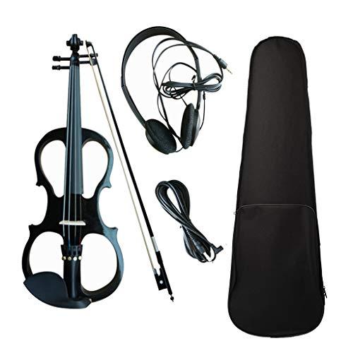WGE Violine Volle Größe 4/4 Massivholz Silent Electric Violine Ahorn Korpus Ebenholz Griffbrett Heringe mit Violine Zubehör,Schwarz