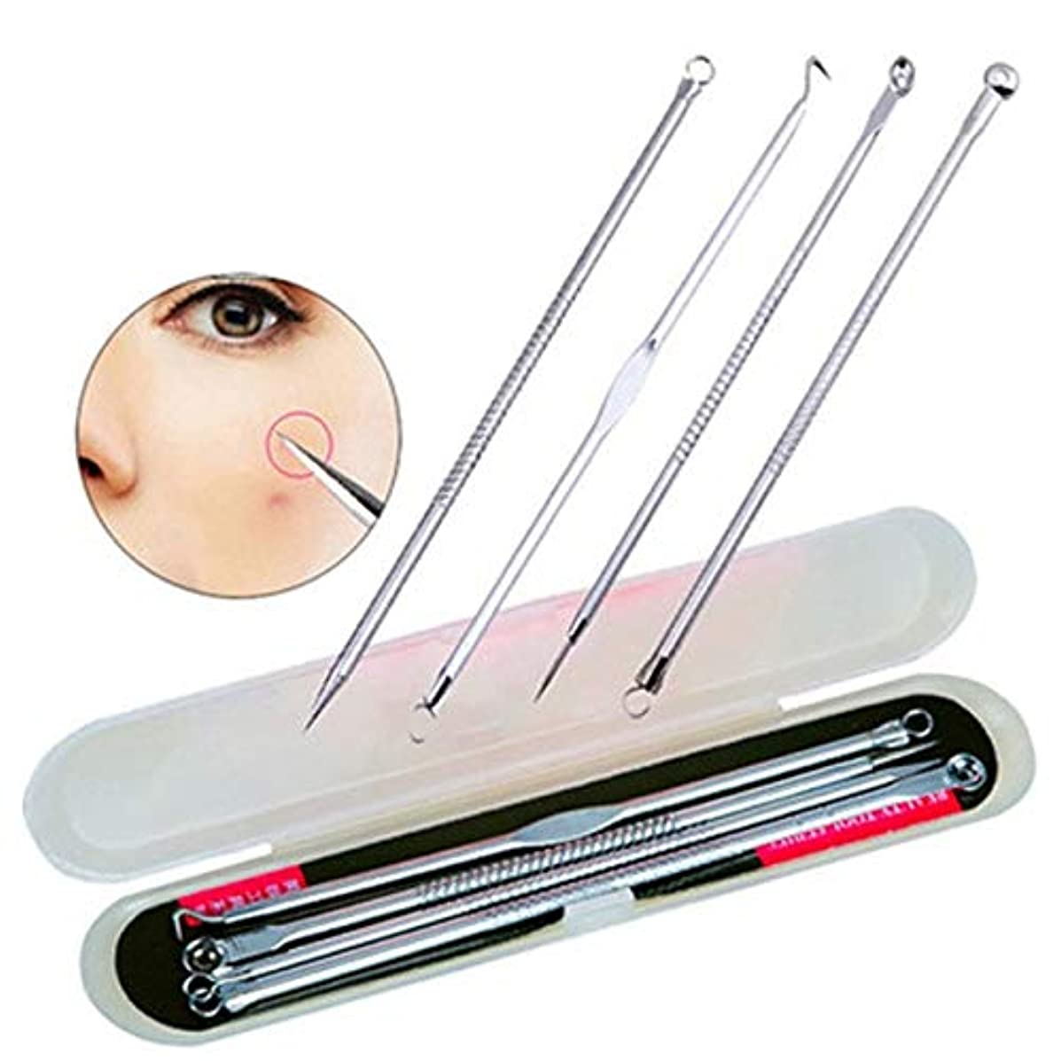 代理人申請中途方もない4PCS Blackhead Extractor Black Dots Pimple Cleaner Acne Blemish Remover Needles Set Black Spots Pore Point Noir Extracteur Tool