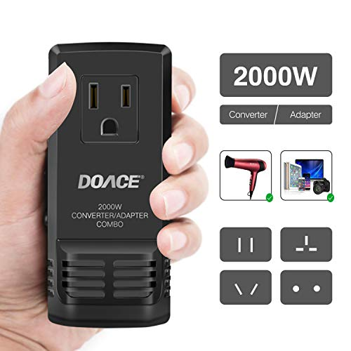DOACE C8 2000W Travel Voltage Converter 220V to 110V for Hair Dryer Steam Iron, 8A Universal Power Adapter with All in One UK/AU/US/EU Worldwide Plug Wall Charger for Laptop MacBook Camera Cell Phone