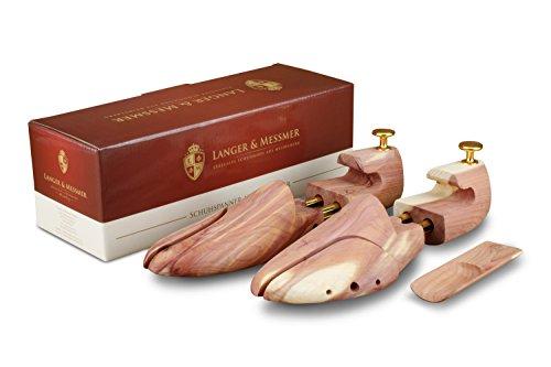 Langer & Messmer hormas para zapatos de madera de cedro (para hombre y mujer), incluye calzador pequeño de madera de cedro, perfecto para viajes tamaño 34-50, el original (42/43 EU) ⭐