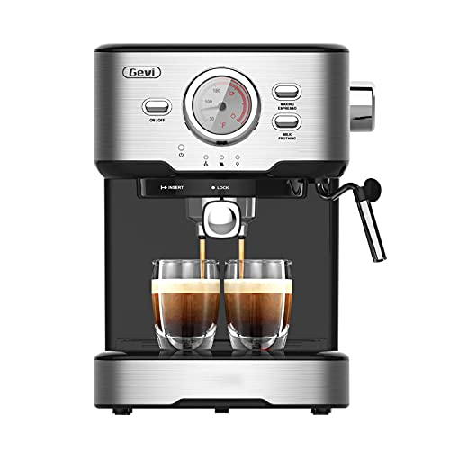 Gevi Espresso Machine 15 Bar with Adjustable Milk Frother Wand Expresso Coffee Machine for Cappuccino, Latte, Mocha, Machiato, 1.5L Removable Water Tank, Double Temperature Control System, 1100W, Black