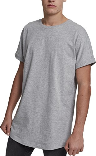 Urban Classics Herren Long Shaped Turnup Tee T-Shirt, Grau (Grey 00111), Large (Herstellergröße: L)