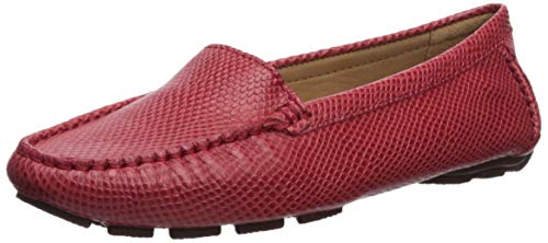 Driver Club USA Womens Leather Made in Brazil Hampton Driver Loafer, Red Cobra, 6.5 M US