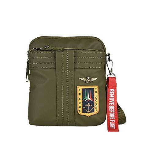 Aeronautica Militare Linea Arrows Shoulder bag Man in rubberized technical fabric Green AM340 18x21x4cm