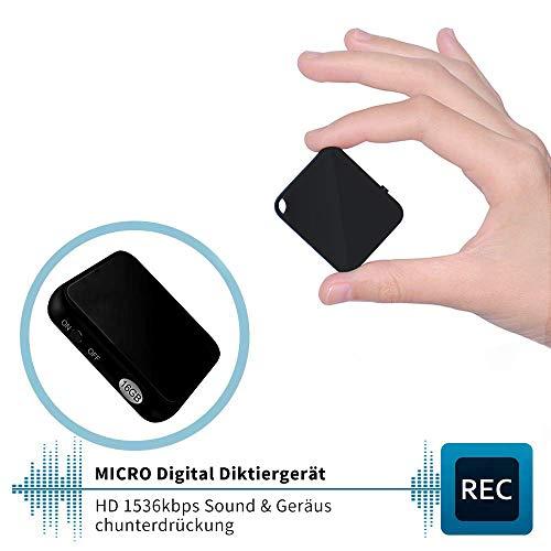 Mini Diktiergerät, TDW Profesionelles Aufnahmegerät 16GB | 40*35*9.7mm | USB Anschluss | 284 Stunden | Sprachgesteuerte | Mini Digital Voice Recorder mit Mikrofon für Vorlesung, Meeting, Interview