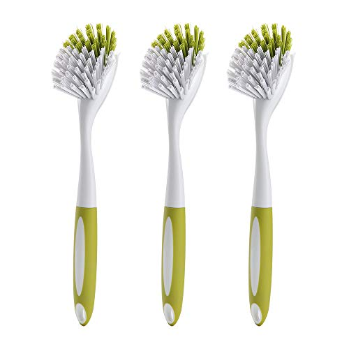 Scrub Brush for Dish Kitchen Sink Pot Pan with Stiff Bristles, Yellow-green, 3pcs