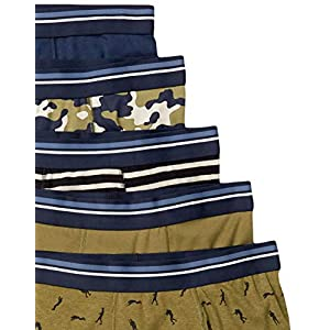 Amazon Essentials Men's 5-Pack Tag-Free Boxer Briefs, Army, Large