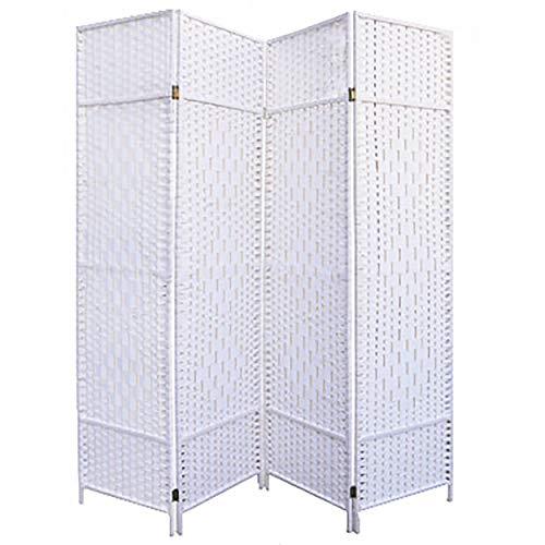 Hogar y Mas Biombo Blanco Bambú Natural 180 cm, Biombo Separador de Ambientes/Vestidor. 4 Paneles 180x180cm