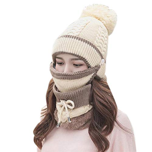 Yusea Winter combination set of winter scarf and face cover, matching knitted beanie with pompom, gift for women.