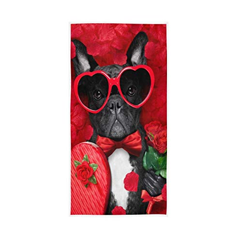 French Bulldog Roses Hand Towels Dog Teacher Gifts Soft Quality Premium Kitchen Dish Towels Washcloths Bathroom Decor for Guest Hotel Spa Gym Sport 30 x 15 inches