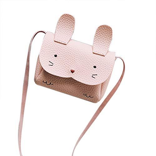 Nikgic PU Paket Kaninchen Form Kindertasche Umhängetasche Handtasche Kind Frau Mädchen Handytasche Münztasche Für Geschenke 12 * 9 * 2,5 cm(Pink)