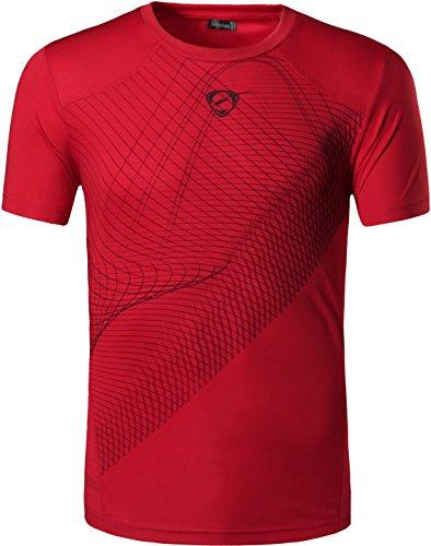 jeansian Herren Sportswear Dry Fit Sport Tee Shirt Tshirt T-Shirt Kurzarm Tennis Golf Bowling Tops LSL069 Red S