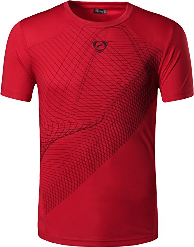 jeansian Herren Sportswear Quick Dry Short Sleeve Men's Tee T-Shirt Tops Tshirt LSL069_Red_S