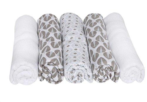 Motherhood Spucktücher, Stoffwindeln, Mullwindeln, 5-er Set, Öko-Tex Standard 100, 100% naturreine Baumwolle, 70 x 80 cm, Bäume Blau 2017