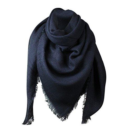 Glamexx24 XXL Schal Kuschelige, warme und wunderschöne Damen Poncho Schal mit verschiedenen Muster Schal Poncho, 5 blau, Einheitsgröße