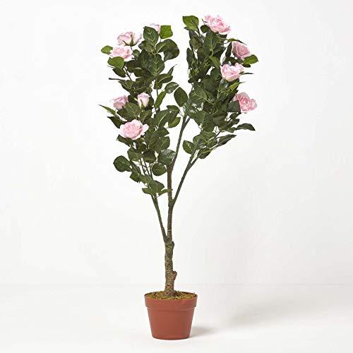 Homescapes Kunstbaum Kunstpflanze Pinke Rosen Rosenbaum formgeschnittene Kugel 90 cm hoch