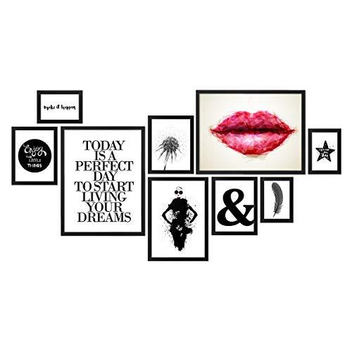 PHOTOLINI 9er Bilderrahmen-Set Modern Schwarz aus MDF 10x15 bis 30x40 cm/Bildergalerie/Bilderwand