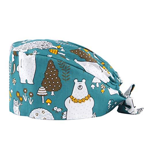 JIUERZAB Sombrero de impresión de algodón  Salón de Belleza Tienda de Mascotas Hat  Farmacia Dental Baotou Hat  Snow Bear Verano Gorra de quimioterapia contra el cáncer