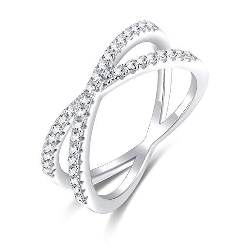 Easunny X Cross Criss Cross Women's 925 Sterling Silver Wrap Ring Cubic Zirconia Rings