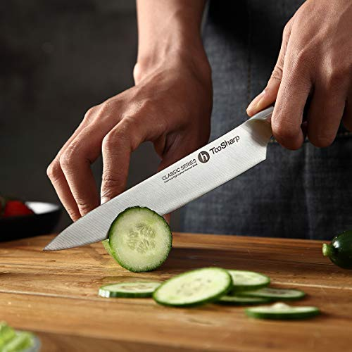TooSharp 6 inch Chef Knife/Chef Utility Knife, German High Carbon Stainless Steel Knife/Fruit and Vegetable Cutting Chopping Carving kitchen Chef Knives, Ergonomic Handle with VG10