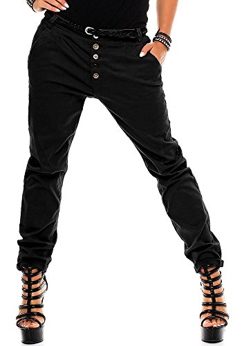 Sublevel Damen Boyfriend Chino Hose LSL-248 inkl. Gürtel Black XL
