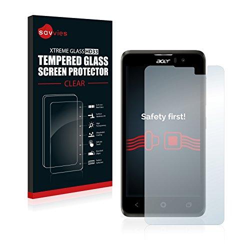 savvies Cristal Templado Compatible con Acer Liquid Z520 Protector Pantalla Vidrio Proteccion 9H Pelicula Anti-Huellas