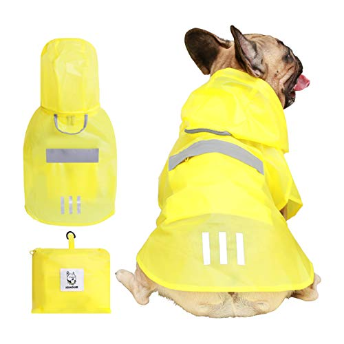iChoue Dog Raincoat Packable Waterproof Adjustable with Reflective Straps Lightweight Rain Jacket for Large French Bulldog Pug (Yellow, L)