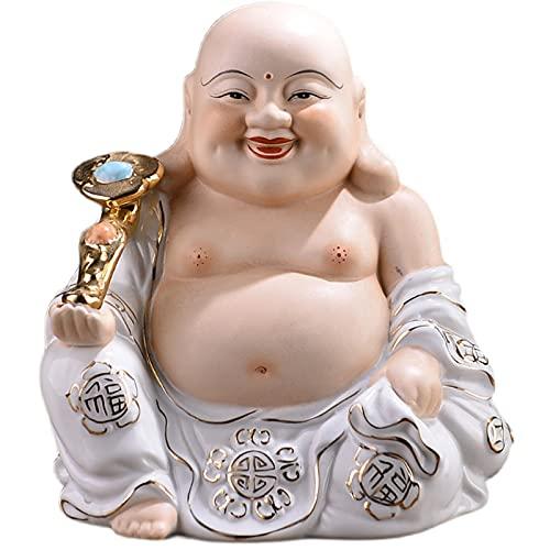 XDYFF Feng Shui Estatua Riendo Buda Figura de Cerámica Escultura para Buena Suerte y Felicidad Sala de Estar RN Casa Afortunado Decoración Adornos,A