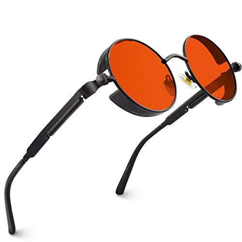 CGID Retro Sonnenbrille im Steampunk Stil, runder Metallrahmen, polarisiert, für Frauen und Männer, E72