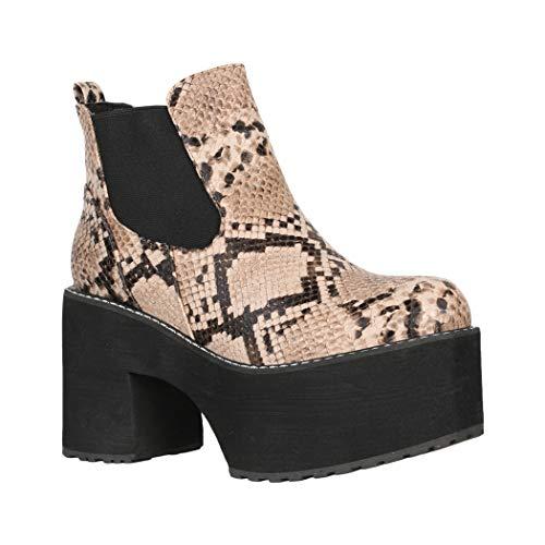 Elara Damen Stiefelette Plateau Ankle Boots Chunkyrayan Q-66 Khaki-40