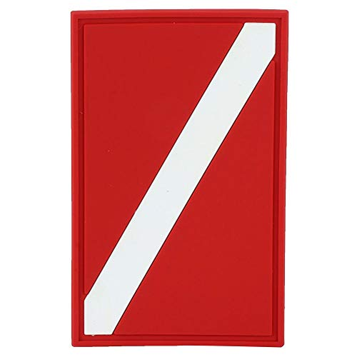 Insignia de la bandera de buceo, insignia de la bandera de buceo al aire libre de PVC Parche de la bandera de buceo Accesorio de reemplazo de la insignia de la mochila del buzo para pesca submarina, b
