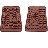 Silicone Letter Mold and Number Chocolate Molds with Happy Birthday Cake Decorations Symbols 2pcs
