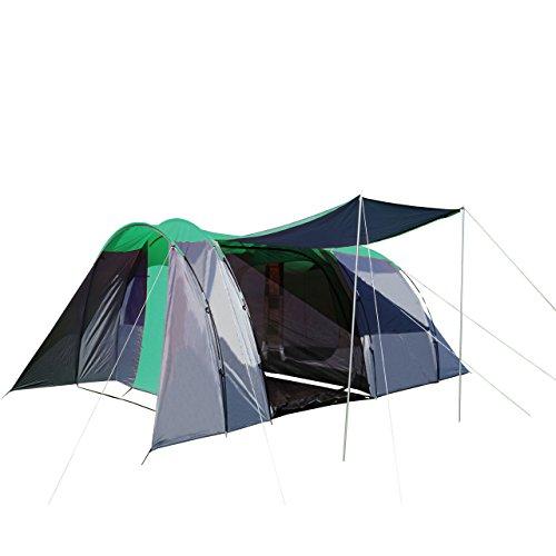 Tenda Da Campeggio Per 6 Persone HWC-A99 320X495X195Cm Grigio Verde