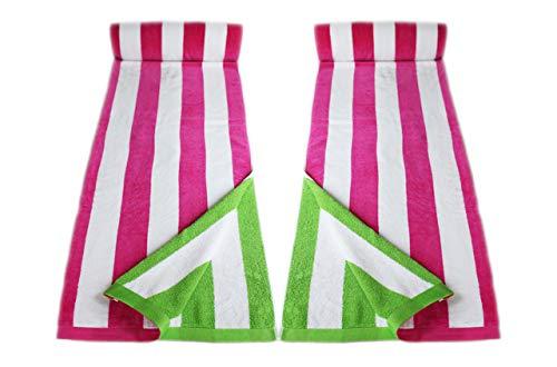 restmor Toallas de Playa 100% Algodón – Set de 2 Toallas de 85x165cm - Rayas de Caramelo Rosa