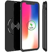 MbuynowPower Case iphone X Chargeur à Induction Sans Fil5000mAh Coque Batterie Externe Portable QIavec Indicateur de LED Wireless Batterie Case 2 en 1 Rechargeable Étui de Protection Prolongée-Noir