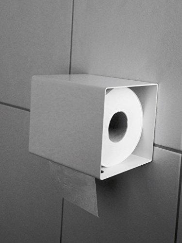 Klopapierhalter Klorollenhalter Designer Toilettenpapierhalter WC Bad weiß metall