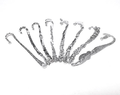yueton 8pcs Mixed Pattern Antique Silver Metal Carved Hook Bookmarks