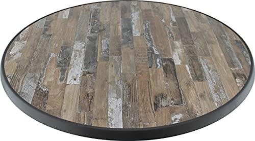 Sevelit Tischplatte im Sealine Pine Design, Holz, Holzoptik rund, 85cm, wetterfest, schlagfeste Tischkante, Tischplatten ideal als Ersatzteil und zum Nachrüsten