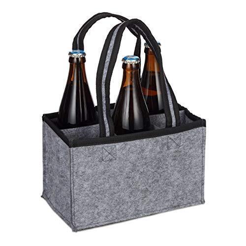 Relaxdays 6er Flaschenträger, Filz, Männerhandtasche Bier, Stoff Flaschentasche für 0,5 l Flaschen, 15x24x15cm, grau, 1 Stück