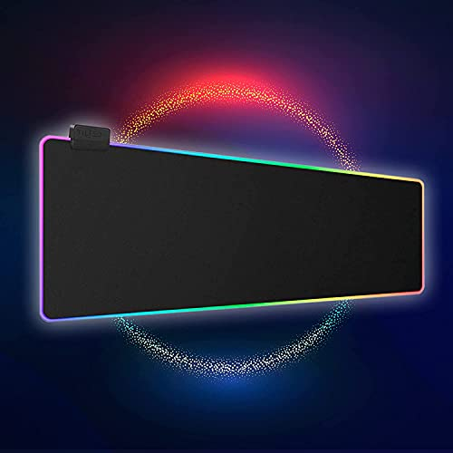 Tilted Nation RGB Gaming Mouse Pad Large - LED Extended Mousepad Desk Mat with 8 Adjustable Light Modes - Computer Mouse and Keyboard Pad - Non Slip Rubber Base, Easy to Clean Water Proof Surface