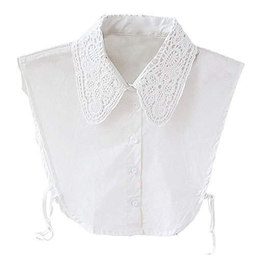 Cuello Media Camisa Blusa Mujer Desmontable Collar Falso Camisa Elegante (Blanco)