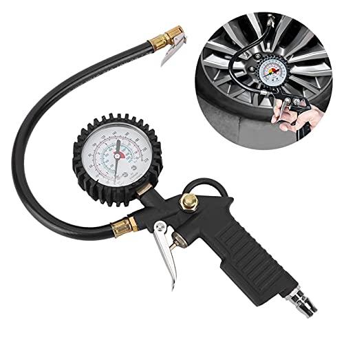 Mxzzand Pistola de presión de neumáticos, Elegante, Fuerte, útil, regulador de presión, medidor de presión de neumáticos, medidor de inflado, confiable para Motocicletas, automóviles, Camiones