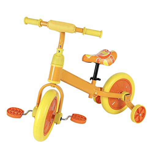 Viribus Bicicletta per Bambini 12' con Pedali Removibile Bici Equilibrio senza Pedali con Sedile Regolabile con Pedali Ruota Ausiliaria capacità 50 kg (Arancia)