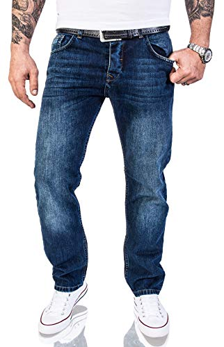 Rock Creek Herren Jeans Hose Regular Fit Jeans Herrenjeans Herrenhose Denim Stonewashed Basic Raw Straight Cut Jeans RC-2140 Dunkelblau W36 L34