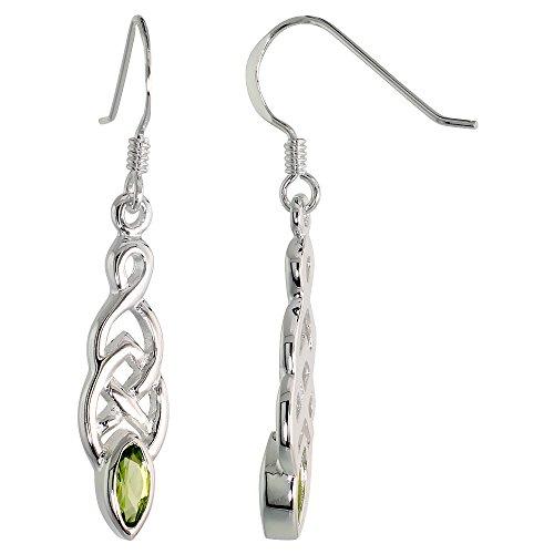 Sterling Silver Genuine Peridot Celtic Knot Earrings Dangling Fishhook Flawless Finish, 1 1/2 inch
