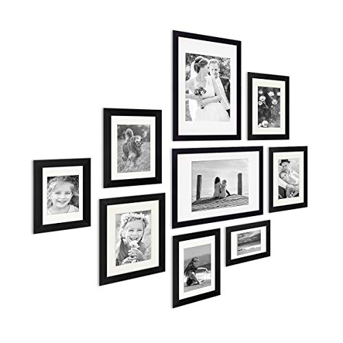 PHOTOLINI 9er Bilderrahmen-Set Modern Tief Massivholz Schwarz mit Passepartout / 10x15, 13x18, 15x20 und 21x30 cm/Fotorahmen/Portraitrahmen/Wechselrahmen